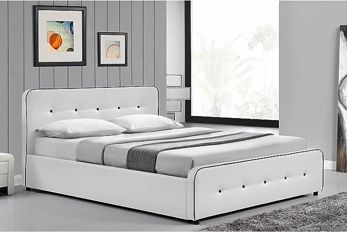 Mon Usine Discount Cama, Blanco, 140 x 190 cm