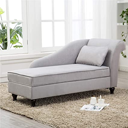 Tongli Chaise Lounge Sofa Chair Couch For Bedroom Or Living Room Gray Right