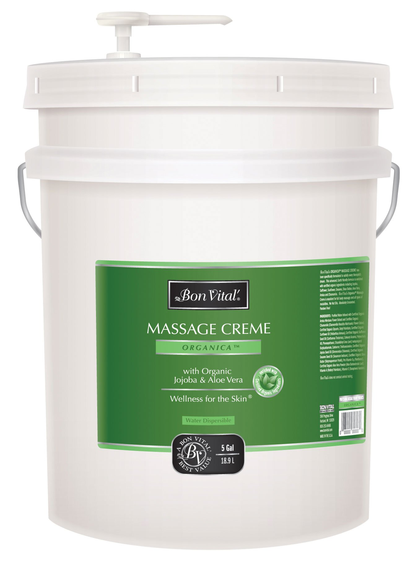 Bon Vital Organica Massage Creme, 5 Gallon Pail