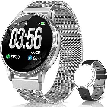BANLVS Reloj Inteligente, Smartwatch IP67 1.22 Pulgadas Pulsómetro, Monitor de Sueño, Presión Arterial,Pulsera Actividad Inteligente para Android iOS Hombre y Mujer (Plata): Amazon.es: Deportes y aire libre