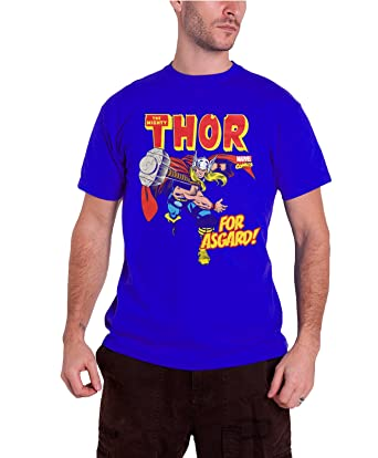 6b644d76ff11cf Thor T Shirt The Mighty Thor For Asgard Official Marvel Comics Mens Navy