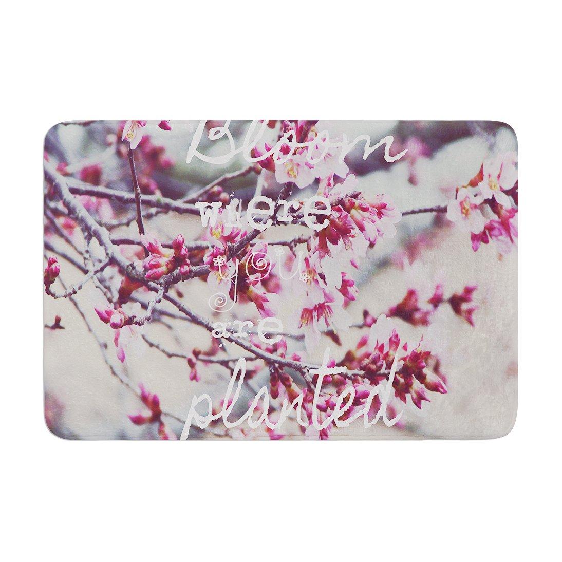 17 by 24 Kess InHouse Suzanne Carter Bloom Pink Memory Foam Bath Mat