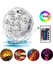 Lampes DEL submersibles pour piscine, 10DEL IR contrôle à distance RGB batterie étanche incluse lumières alimentées pour base de vase, étang, lampes DEL, lampes DEL lampes de fête, jacuzzi, Noël, Halloween lampes étanche pour piscine