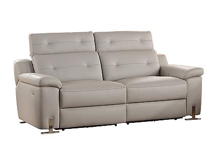 Homelegance Vortex Modern Design Power Double Reclining Sofa Top Grain Genuine  Leather Match With Adjustable Headrest