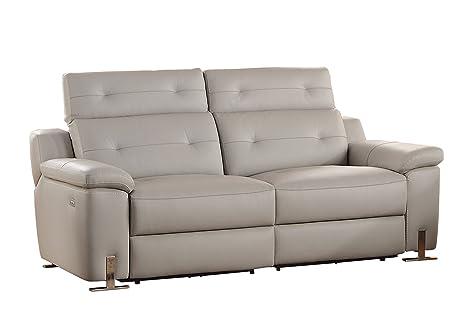 Homelegance Vortex Modern Design Power Double Reclining Sofa Top Grain  Genuine Leather Match with Adjustable Headrest, Grey
