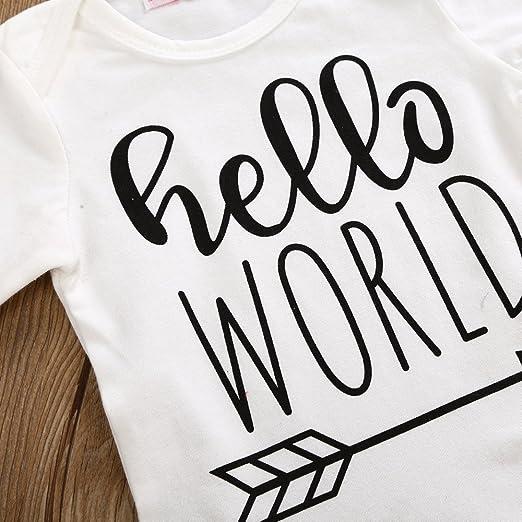 YanHoo Ropa para niños Batas de Estampado de Cartas para niños + Pantalones + Sombrero de Tres Piezas Recién Nacidos Niños Baby Girl Boy Outfits Ropa Carta ...