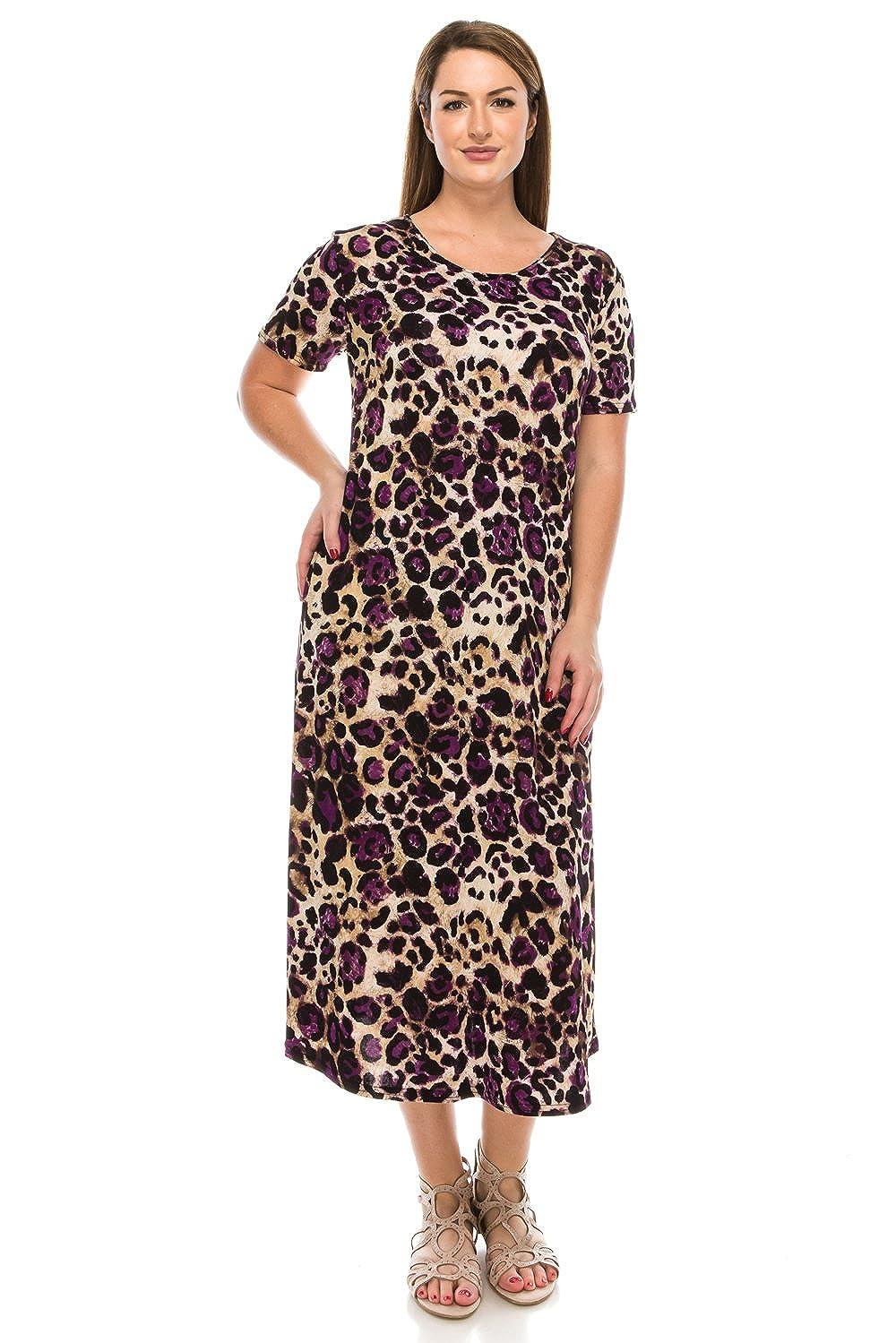 W088 Purple Jostar Women's Stretchy Long Dress Short Sleeve Print