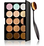 Tonsee 1PC Cosmetic Makeup Blusher Toothbrush Curve Foundation Brush+15 Colors Concealer