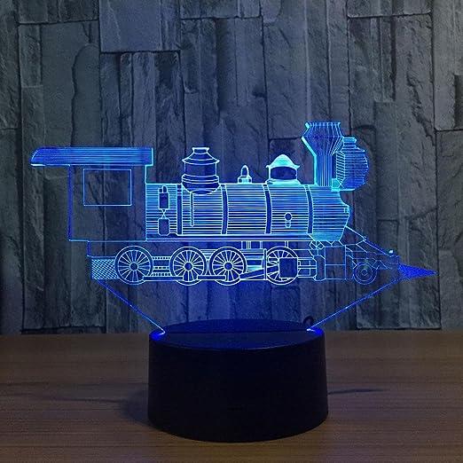 Train 3D lampada LED 7 colorato arte scultura luci decorazione 3D illusione  ottica lampada con pulsante 798a236acd
