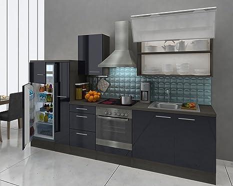 respekta Premium cucina 310 cm Rovere Grigio Nero frigorifero ...