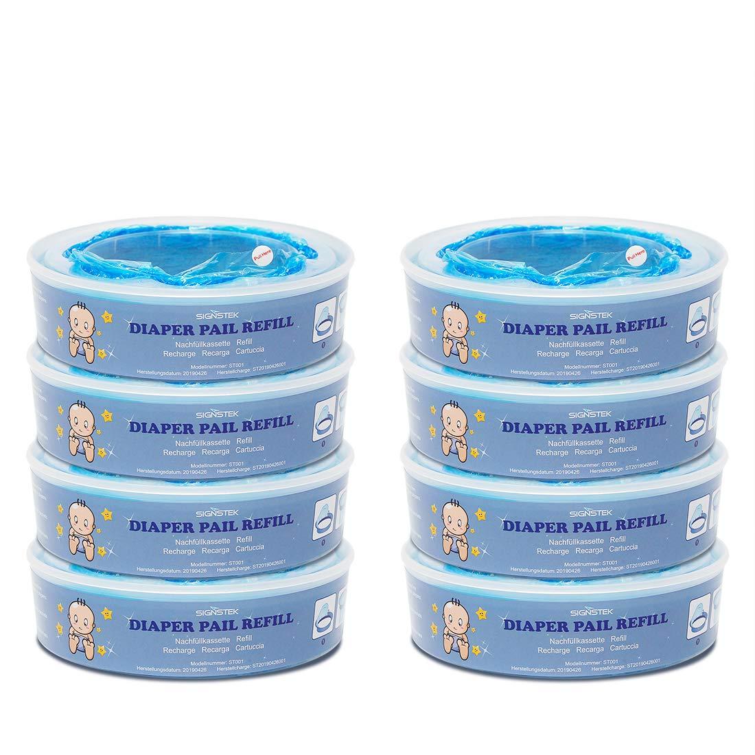 Signstek Diaper Pail Refills for Diaper Genie Pails,2160 Count,8-Pack by Signstek
