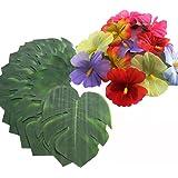 36PCS Hibiscus Tropical Leaves Palm Simulation Imitation Leaf-- Luau / Hawaiian/Jungle/ Beach Party Decorations Supplies Summer Flowers