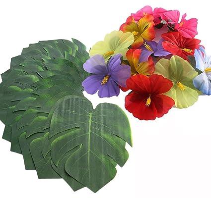 Buy 36pcs Hibiscus Tropical Leaves Palm Simulation Imitation Leaf