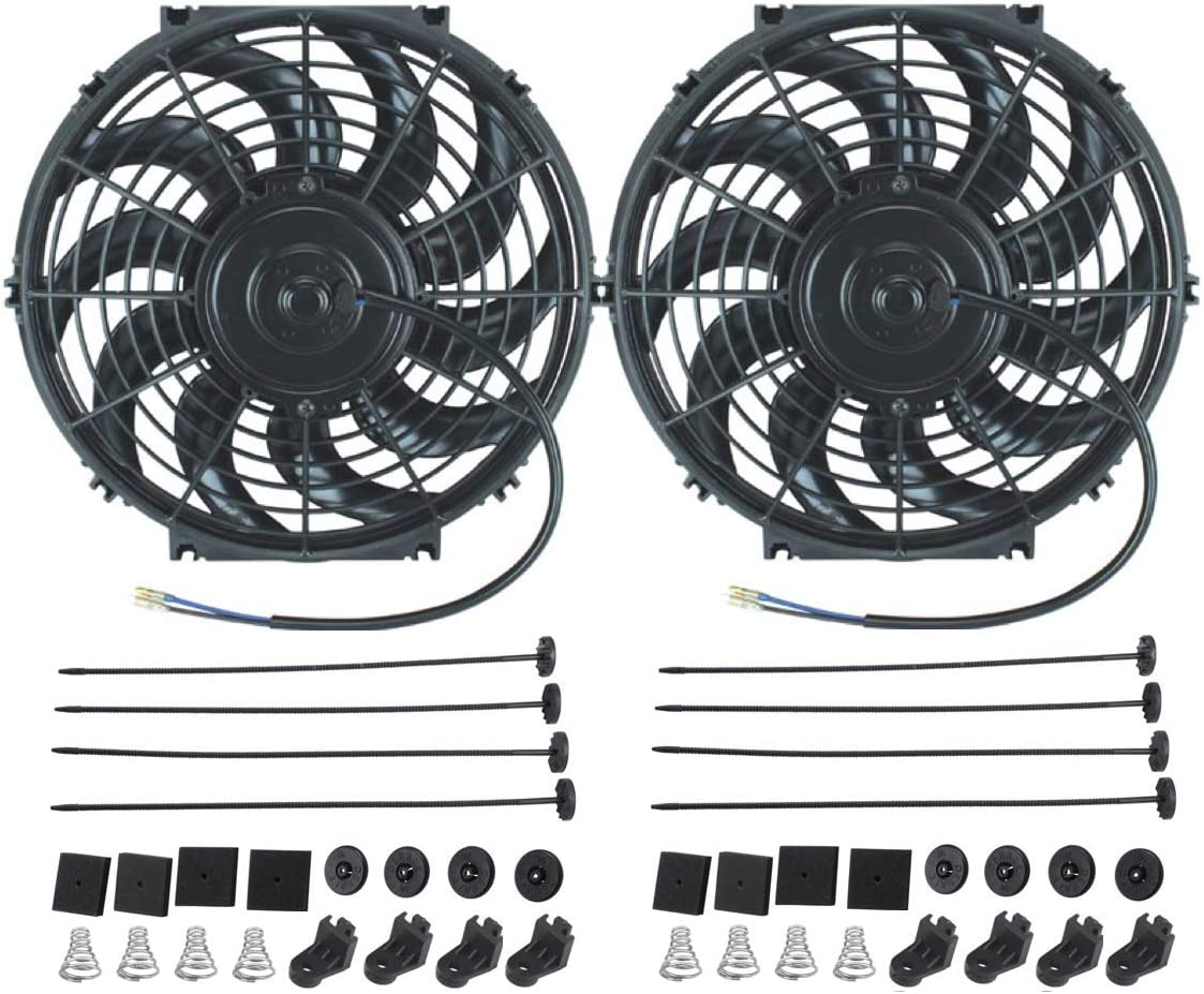 "American Volt 12V Electric Radiator Cooling Fan Reversible High Performance Thermo Cooler Best CFM (11"" Inch, Dual Fan)"
