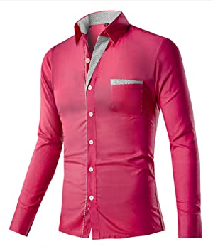DD.UP Men's Cotton Long Sleeve Slim Fit Casual Dress Shirt