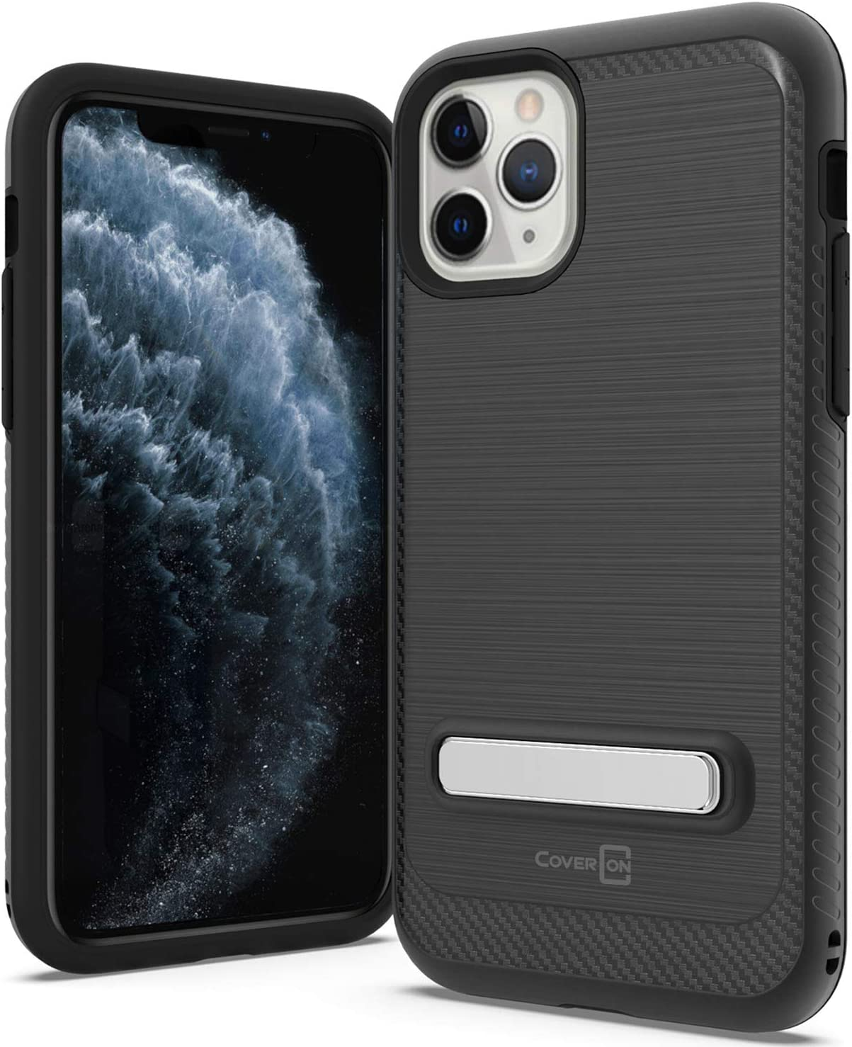 CoverON Metal Kickstand Protective SleekStand Series for iPhone 11 Pro Case, Midnight Black