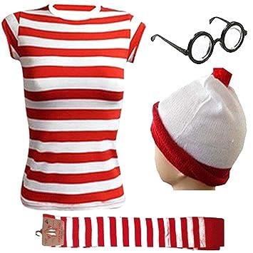Womens Red /& White Striped World Book Week T-Shirt Hat Freshers Week Fancy Dress