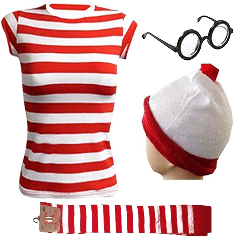 Ladies Mens Wheres Nerd Geek Red /& White Stripe Fancy Dress Fresher Costume Book Day 3 /& 4 piece set