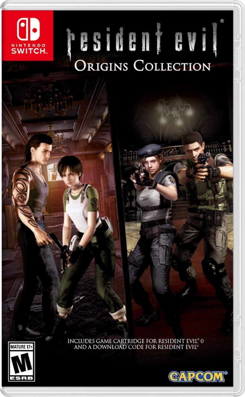 Północnoamerykańska okładka Resident Evil Origins Collection na Nintendo Switch