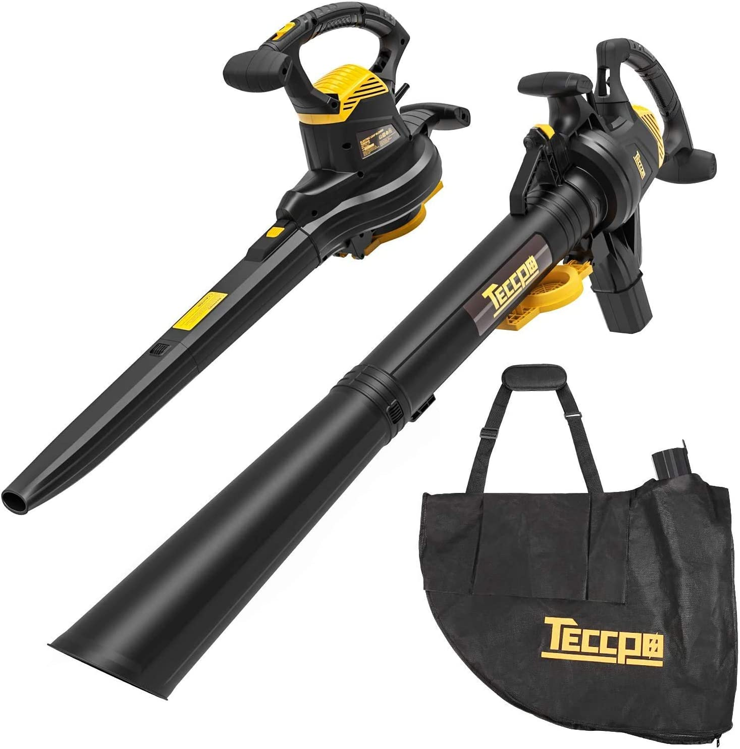 TECCPO Leaf Vacuum, 12 Amp 3-in-1 Leaf Blower/Vacuum/Mulcher, Mulching Ration of 16:1, Variable Blow Speed of 170/250mph, 280/410 CFM, 40L Collection Bag - TABV01G