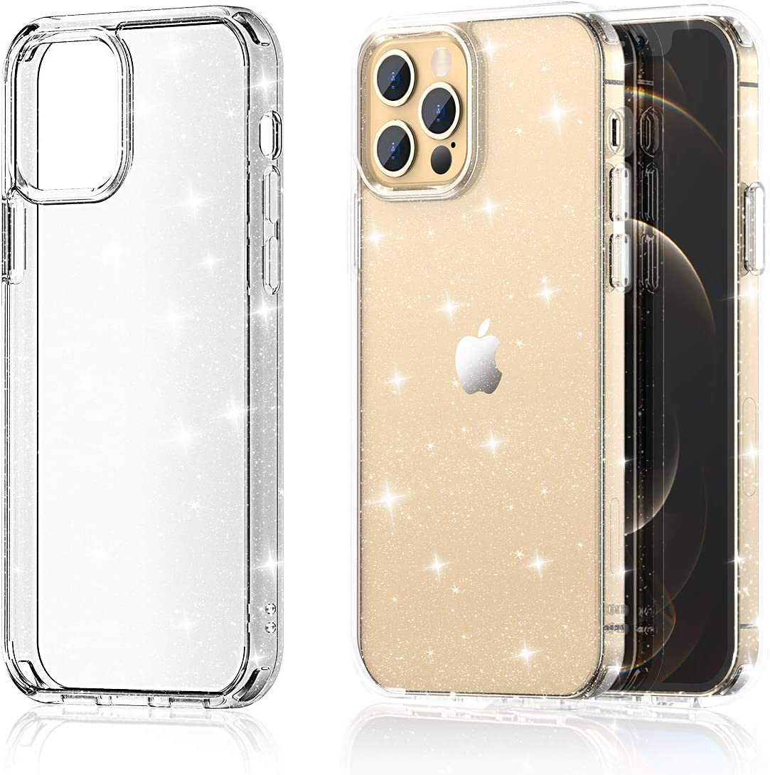 "Meifigno Glitter Compatible with iPhone 12/12 Pro Case, Hard Back with Soft TPU Bumper, [Military Grade Protection], Clear Sparkle Case Designed for iPhone 12/12 Pro 6.1"" 2020, Glitter Clear"