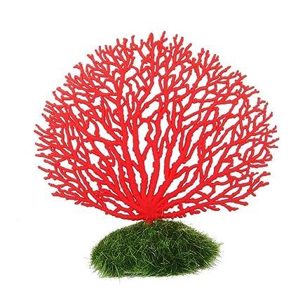 NUOLUX Aquarium Decor Artificial Coral Decoration for Aquarium Fish Tank (Red)