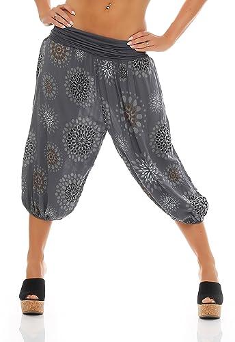 ZARMEXX Señoras 3/4 bombachos estilo Capri pantalones harén pantalones cortos de verano de yoga hast...