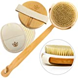 Body Scrub Bath Brush Set – Long Handle, Detachable Exfoliating Body Scrub Brush For Women & Men – Body Brush Improves Circulation, Reduces Cellulite – Recommended Dry Skin Brush