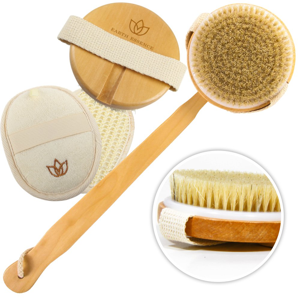 Body Scrub Bath Brush Set – Long Handle, Detachable Exfoliating Body Scrub Brush For Women & Men – Body Brush Improves Circulation, Reduces Cellulite – Recommended Dry Skin Brush Earth Essence Bath Body Brush
