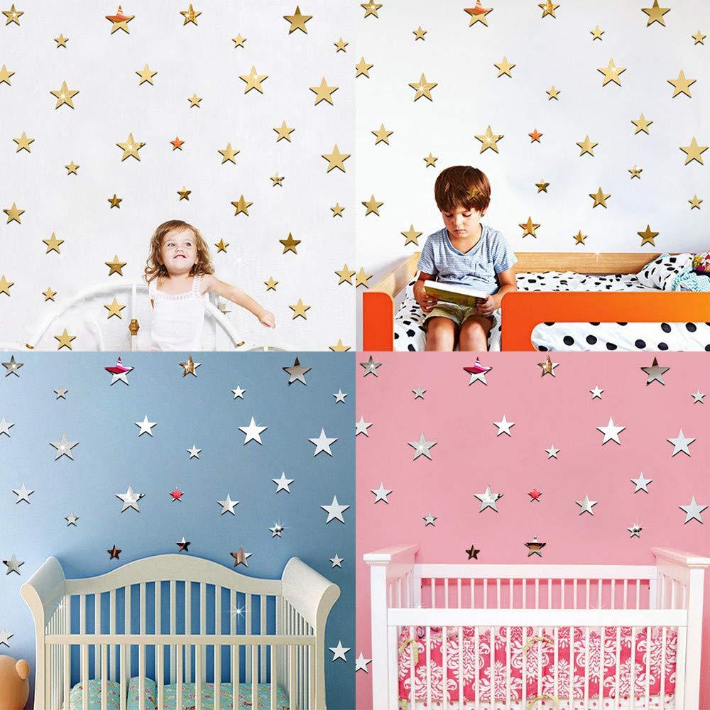 Argent /Étoiles Miroir Stickers Muraux Creative 3D Acrylique Stickers Muraux DIY Amovible D/écoration Murale pour Chambre Salon Chambre des Enfants P/épini/ère