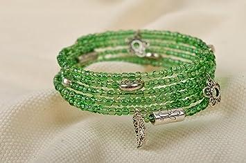 04831868f517 Pulsera de abalorios verdes elegante bisuteria artesanal accesorio para  mujer  Amazon.es  Hogar