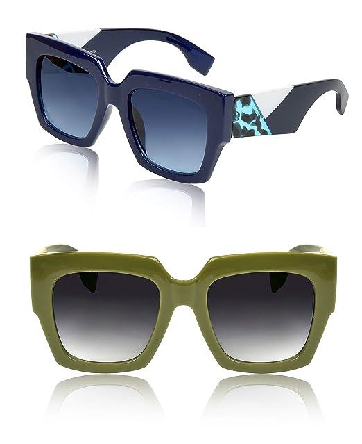 Amazon.com: Sunny Pro Gafas de sol cuadradas de gran tamaño ...