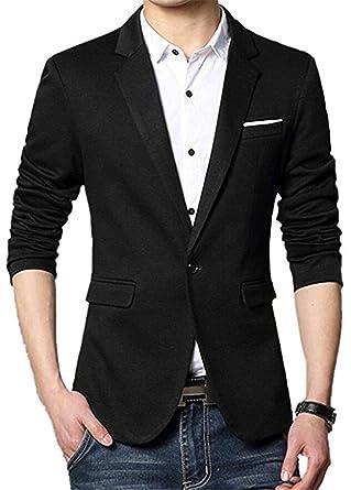 uygmxdnxg de Los Hombres Slim Fit – Stylish Casual Un Botón Bolsillos sólida Suit Coat Chamarra