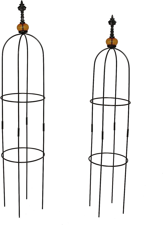 1.Go 2 Packs Garden Obelisk Metal Trellis Flower Support for Climbing Vines and Plants, 39.4