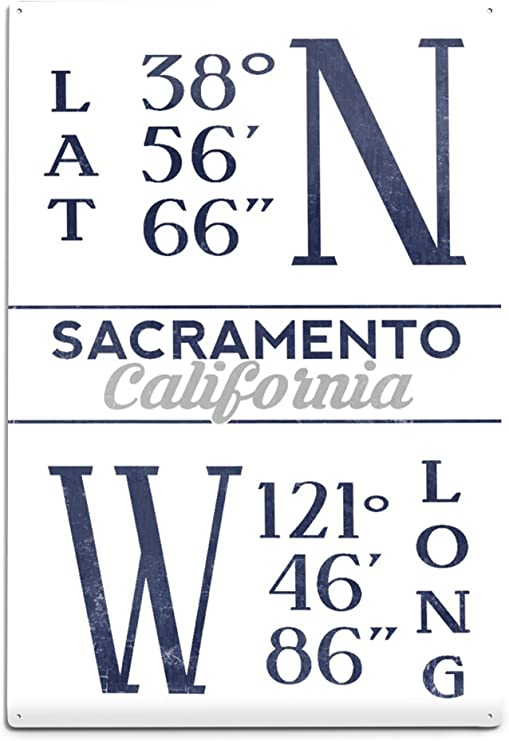amazon com lantern press sacramento california latitude and longitude blue 67555 6x9 aluminum wall sign wall decor ready to hang wall art lantern press sacramento california latitude and longitude blue 67555 6x9 aluminum wall sign wall decor ready to hang