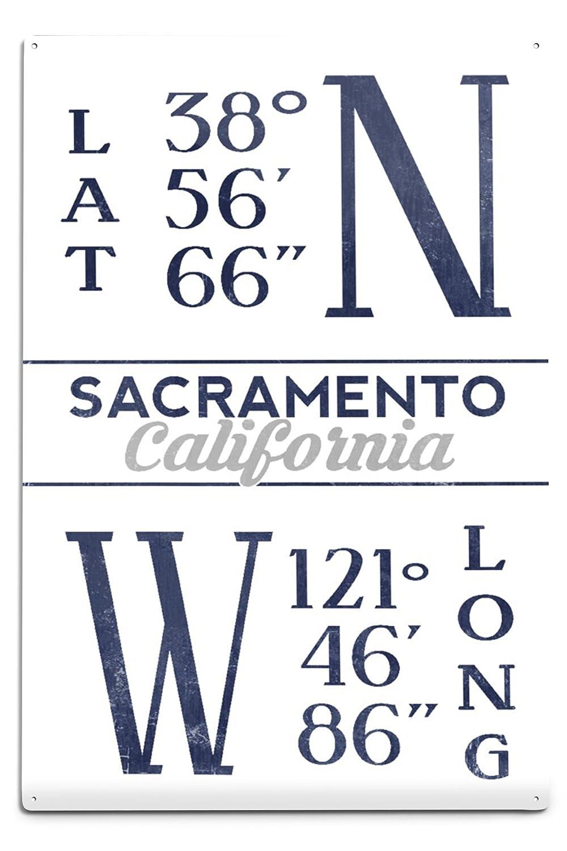 Latitude and Longitude Blue 24x36 Giclee Gallery Print, Wall Decor Travel Poster Sacramento California