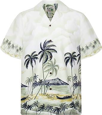 KYs | Original Camisa Hawaiana | Caballeros | S - 8XL | Manga Corta | Bolsillo Delantero | Estampado Hawaiano | Playa | Palmas | Verde: Amazon.es: Ropa y accesorios
