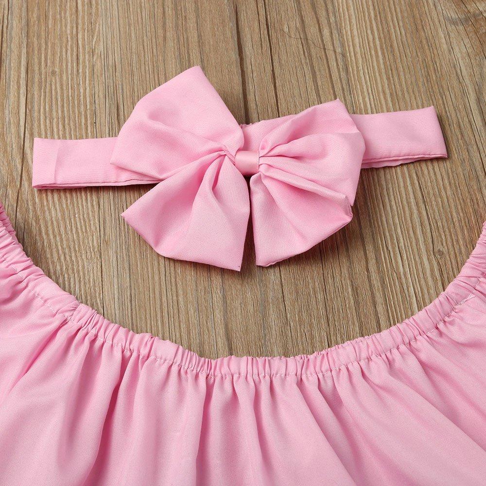 Xshuai Kleinkind Kinder Baby M/ädchen Schulterfrei R/üschen T-Shirt Tops Sommer Kleidung Outfits