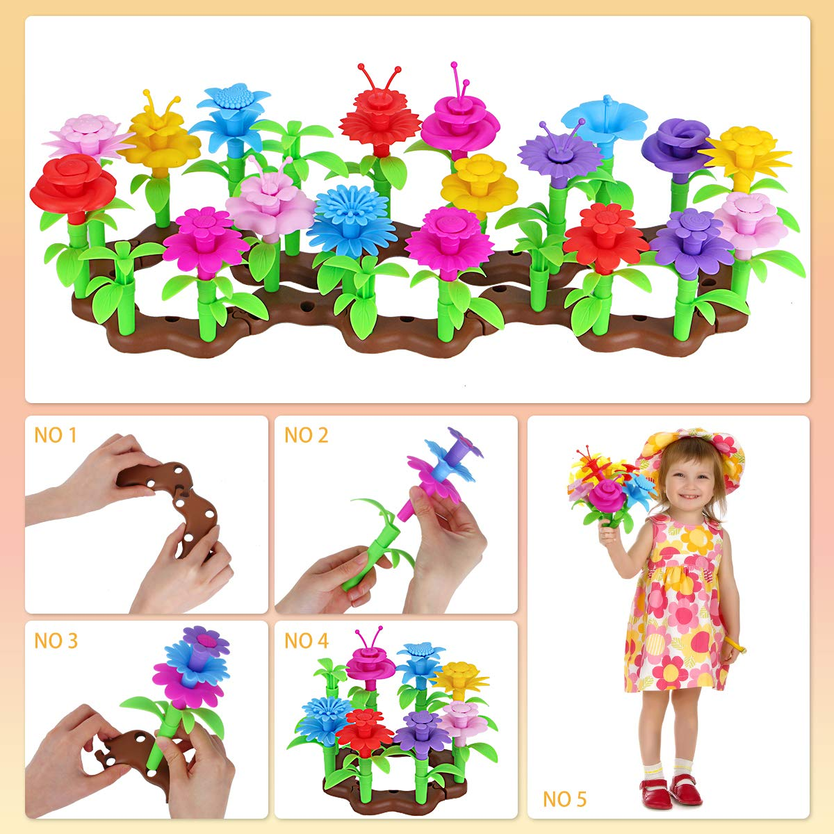 Aitey Flower Garden Building Toys for Girls Stacking STEM Educational Arts and Crafts Playset 108 Pack Kid Gardening Set with 4 Wind-Up Toys for 3 4 6 Year Old Toddler Birthday Gifts 5
