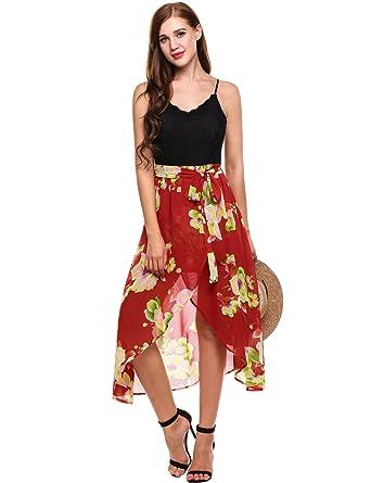 c77c8cb35e3 Beyove Women s Slit Flower Print Dress Spaghetti Strap Beach Dress at Amazon  Women s Clothing store