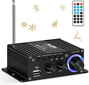 Moukey Mini Stereo Amplifier with Bluetooth - for Speakers, ipad, Phones, Computers, Car, Home use - 50W Dual Channel Sound Power Audio Receiver USB, AUX, FM, Remote Control, Power Supply- MAMP2