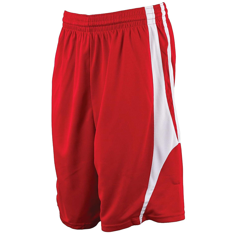 Alleson Reversibleバスケットボールショーツ – スカーレット/ホワイト – 中 B003WYCBVC