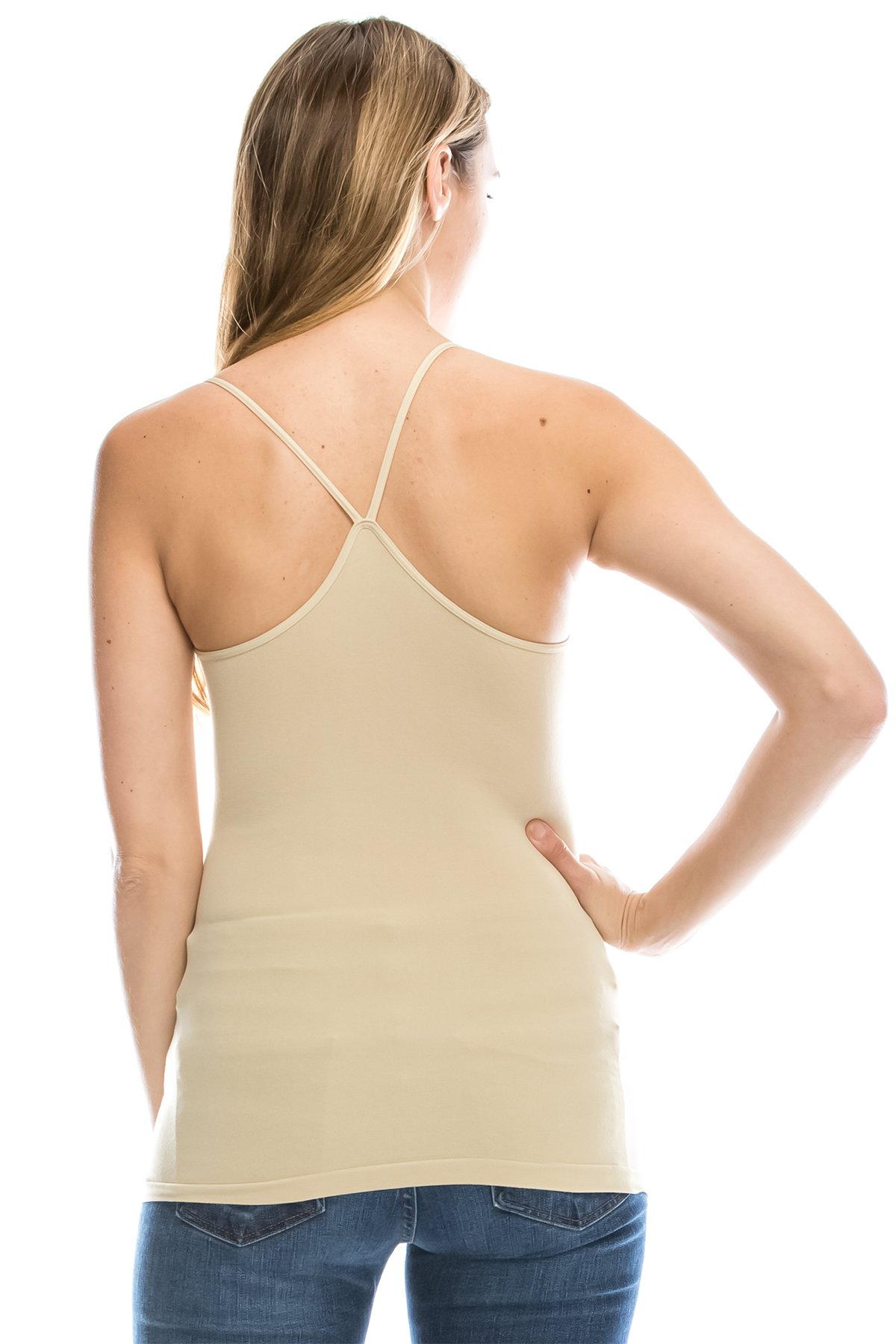 Kurve American Made Y-Back Spaghetti Strap Basic Cami, UV Protective Fabric UPF 50+ (Made With Love In The USA) Medium/Large (One Size) Pebble