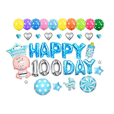GOER Cute Blue Alphabet Letters Foil Balloons Set Happy 100 Day Party Decoration Supplies,Include 37 Balloons and 52 Balloon Glue: Toys & Games