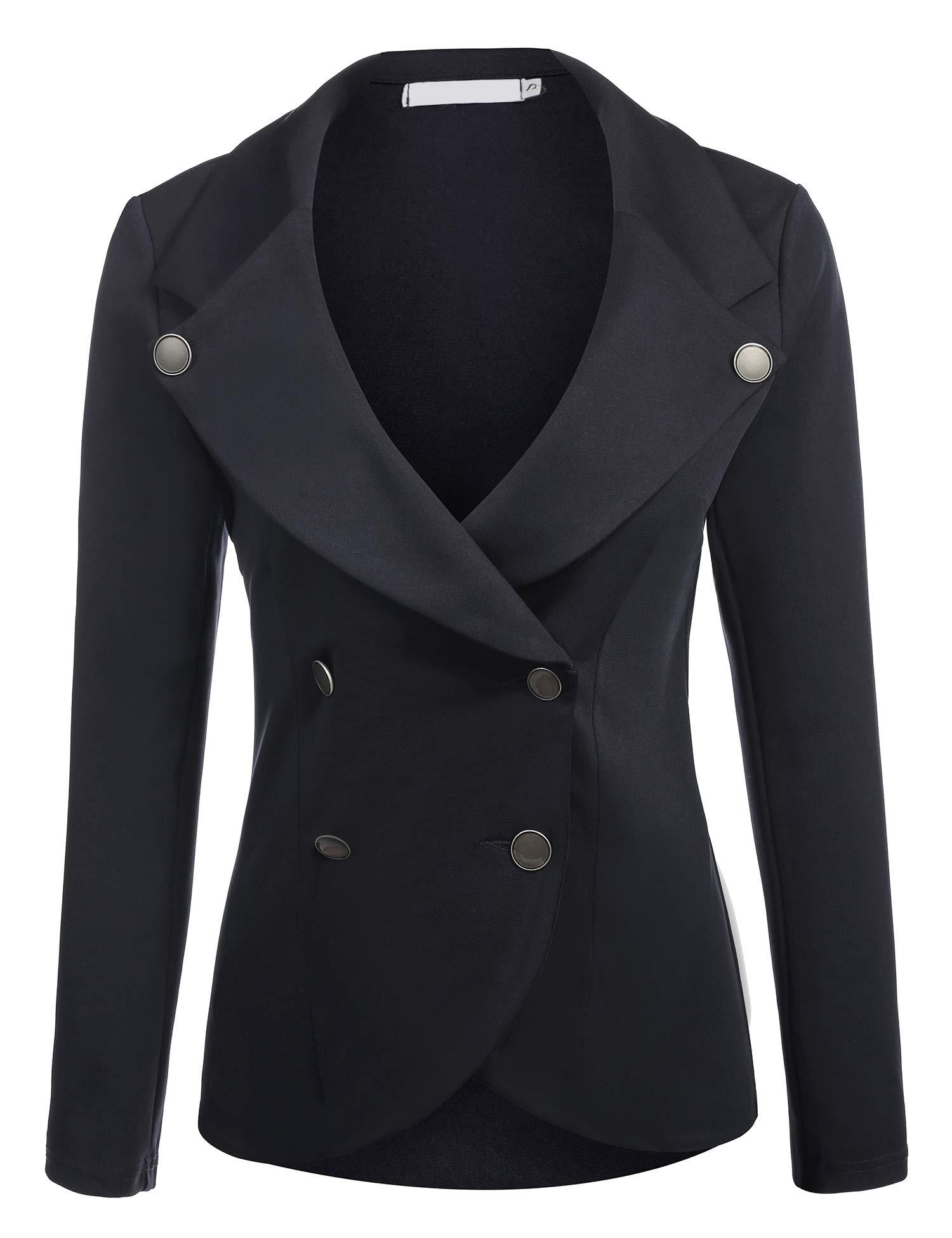 ELESOL Women's Slim Fit Blazer Casual Work Double Breasted Peplum Crop Jacket (Small, Black)