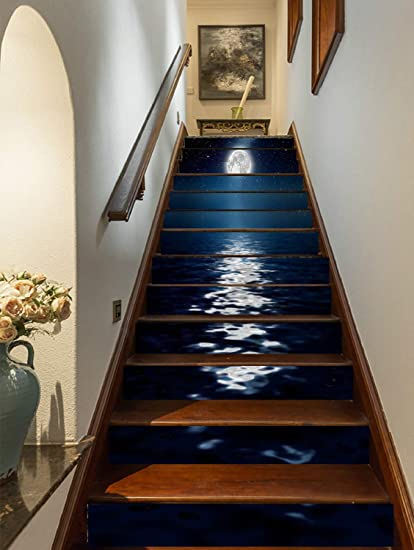 Flfk 3d Bright Moonlight At Sea Staircase Stickers Self Adhesive Removable Wallpaper Home Decor 39 3 X7 X13pcs