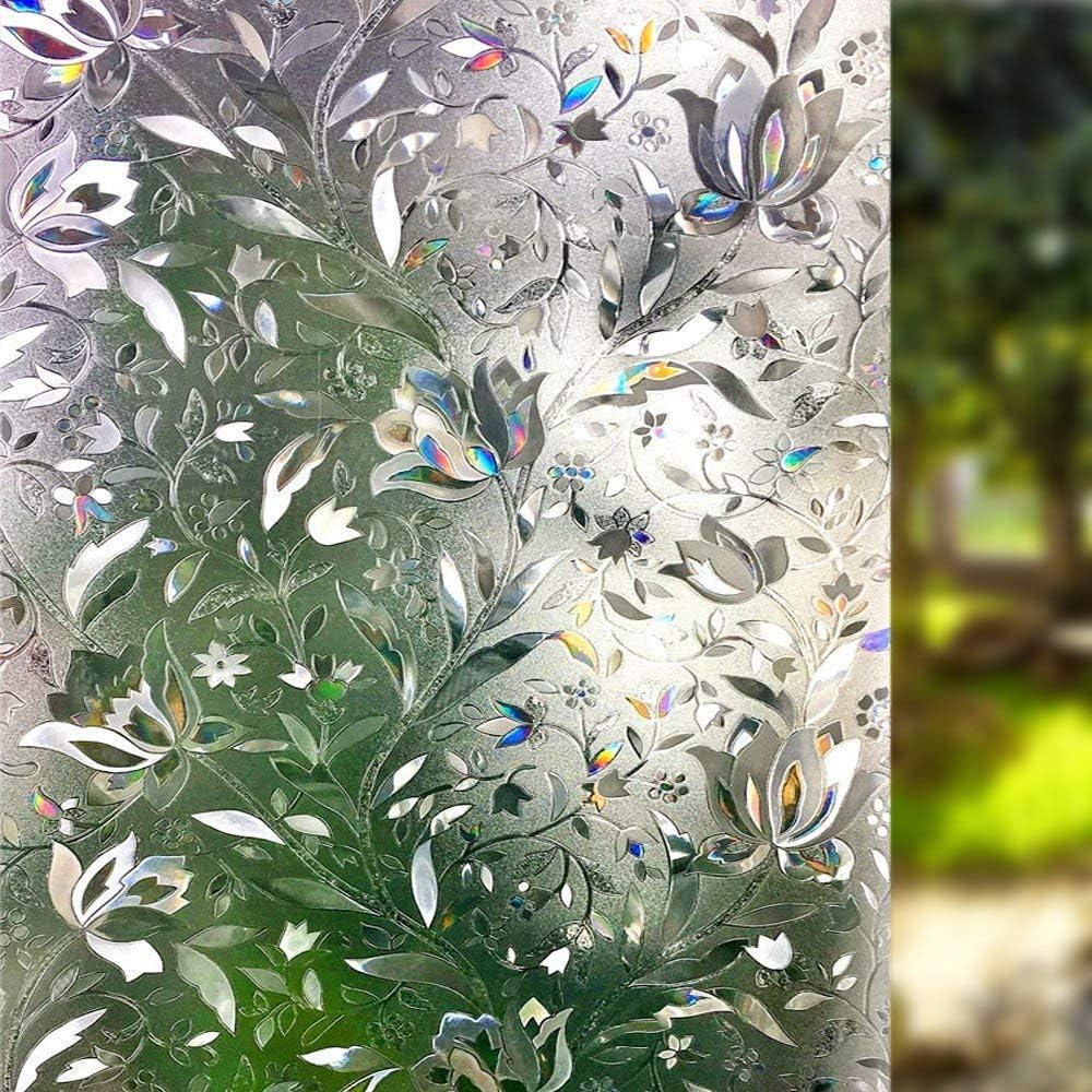 LEMON CLOUD 3D Window Film No Glue Static Decorative Privacy Films Window Frost Film for Glass (17.7in. by 157.4)