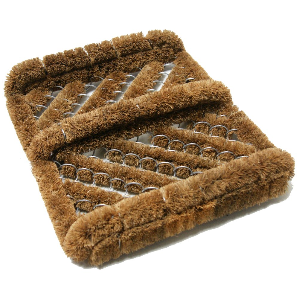 Rubber-Cal ''Herringbone'' Coir Boot Scraper Brush, 2.5 by 12 by 13-Inch