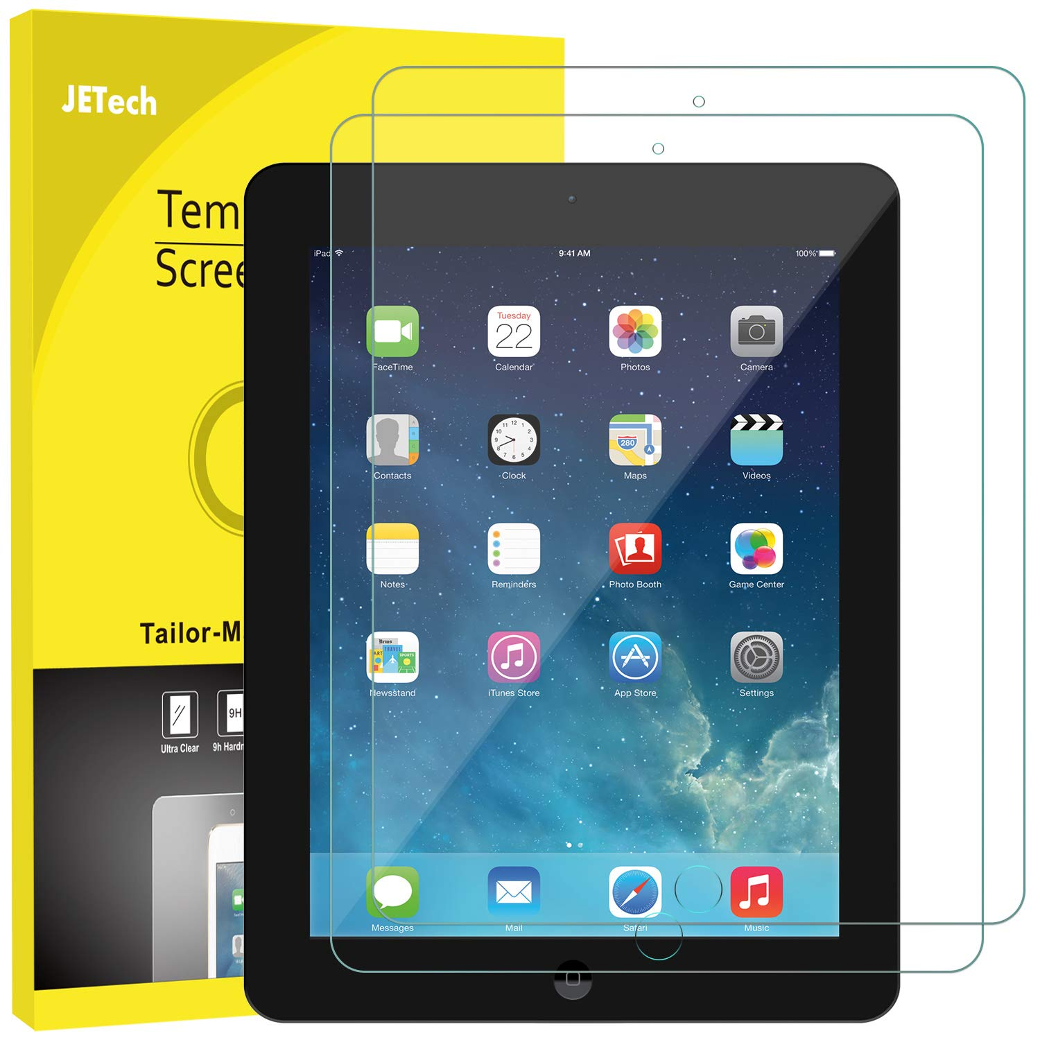 JETech Screen Protector for iPad 2 3 4 (Oldest Models), Tempered Glass Film, 2-Pack