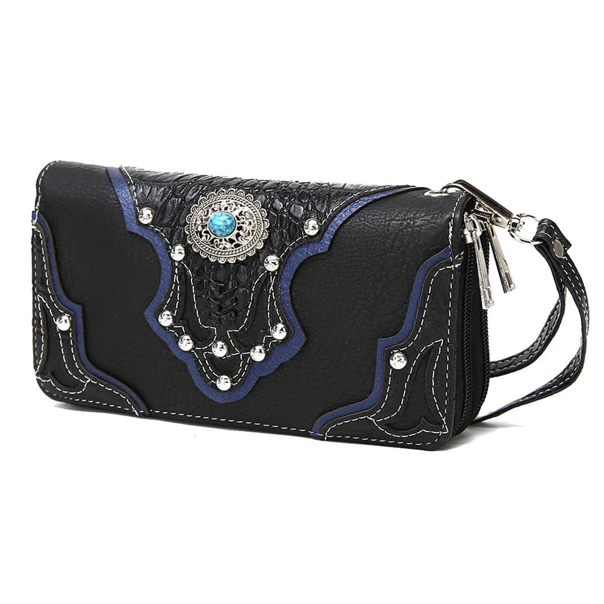 Conchos Studded Crocodile Laser Cut Cowgirl Western Style Country Purse Wrist Strap Women Wristlet Wallet (Black) by Cowgirl Trendy (Image #2)